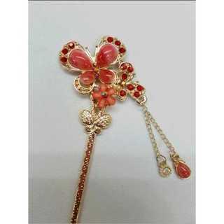 かんざし 簪 髪飾り レトロ 和装 洋装 ヘアアクセサリー レッド 花 蝶(その他)