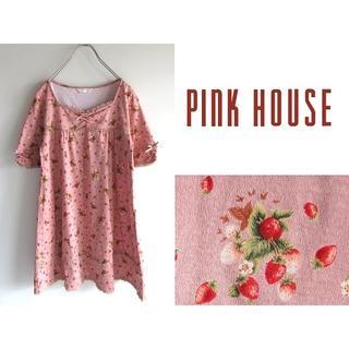 ピンクハウス(PINK HOUSE)の新品未使用 ピンクハウス いちごプリント ピコフリル リボン付チュニック(その他)