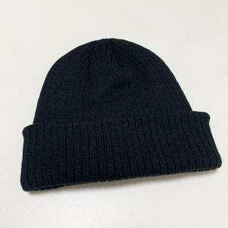 無地 ニット帽 黒 浅め(ニット帽/ビーニー)