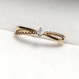 ジュエリーツツミ(JEWELRY TSUTSUMI)のK18 クロスデザインリング ダイヤモンド(リング(指輪))