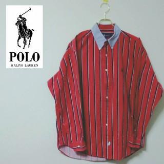POLO RALPH LAUREN - 【激レア】ポロラルフローレン 刺繍ロゴ入りストライププルオーバーシャツ 90s