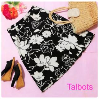タルボット(TALBOTS)の【タルボット】花柄スカート☆モノトーンフラワープリントL~XL(ひざ丈スカート)