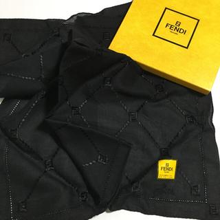 FENDI - フェンディ    ハンカチ  ズッカ刺繍  ブラック