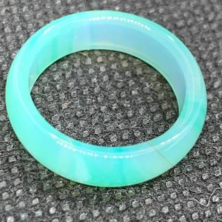 天然石 瑪瑙 めのう アゲート エメラルドグリーン15号 リング 指輪(リング(指輪))