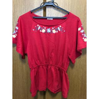 花刺繍プリント 半袖Tシャツ