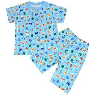 アンパンマン(アンパンマン)のお値下げ中! 90cm アンパンマン 和風総柄半袖パジャマ ブルー(パジャマ)