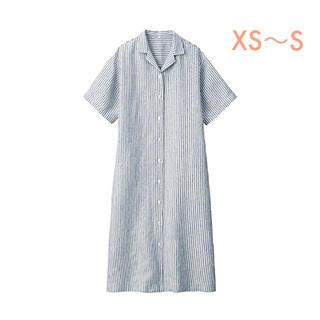 ムジルシリョウヒン(MUJI (無印良品))の無印良品   フレンチリネン洗いざらし五分袖開襟ワンピース  婦人XS〜S(ひざ丈ワンピース)
