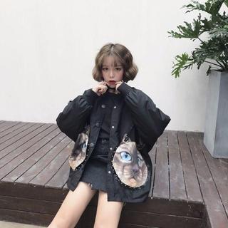 ❤今季トレンド❤ ビッグシルエット モッズコート ジャケット レトロ 猫柄 ☆
