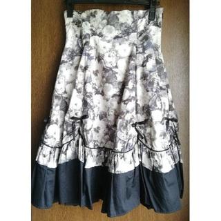 ヴィクトリアンメイデン(Victorian maiden)のVictorian maiden ギャザースカラップスカート ノーブルブラック(ひざ丈スカート)
