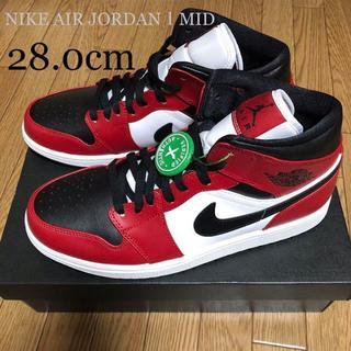 ナイキ(NIKE)のNIKE AIR JORDAN1 MID BLACK/GYM RED-WHITE(スニーカー)