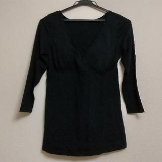 ムジルシリョウヒン(MUJI (無印良品))の無印良品 シルク入り授乳に便利なカップ付カシュクール八分袖 マタニティM~L・黒(マタニティ下着)