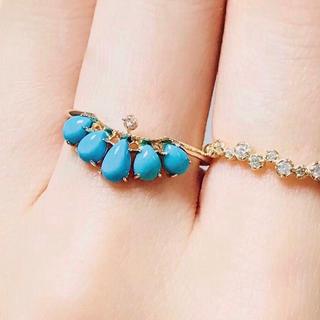 アガット(agete)のagete アガット ターコイズ ダイヤモンド リング  K10 #11 (リング(指輪))