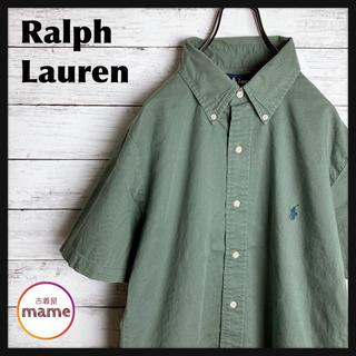 POLO RALPH LAUREN - 【激レア‼︎】ラルフローレン◎90s ボタンダウン ホース刺繍 半袖 無地シャツ