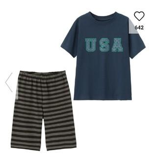 ジーユー(GU)のGU パジャマ上下 110㎝ 半袖 キッズ 新品(パジャマ)