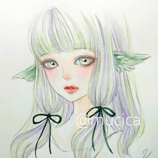 手描きイラスト《 うぐいす 》オリジナル 水彩画 美人画 美少女(絵画/タペストリー)
