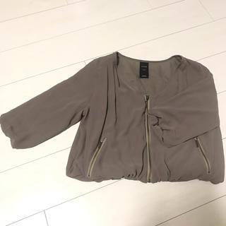 ルスーク(Le souk)のお得♡LE SOUKシフォン羽織り♡カーキ〜ブラウン(ノーカラージャケット)