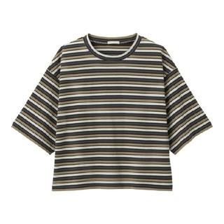 ジーユー(GU)のGUマルチボーダークロップドT(5分袖)+ECオンライン特別商品サイズLブラウン(Tシャツ(半袖/袖なし))