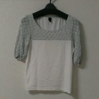 ルカ(LUCA)の切りかえ☆シルバー×ホワイトトップス(Tシャツ(長袖/七分))