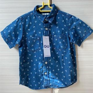 ジーユー(GU)の新品未使用 GU プリントデニムシャツ 110cm(Tシャツ/カットソー)