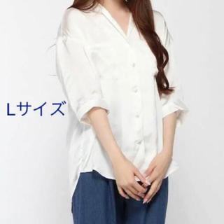 WEGO - WEGO サテン開襟シャツ 5分袖 白 L