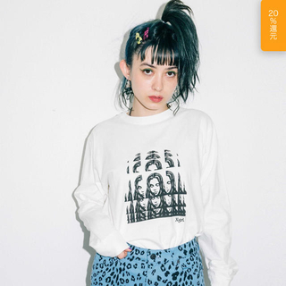 X-girl - X-girl  PSYCHEDELIC FACE L/S REGULAR TEE