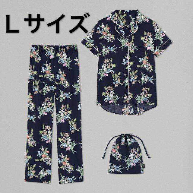 GU(ジーユー)のGU ケイタマルヤマ パジャマ フラワー ネイビー Lサイズ 花柄 新品 レディースのルームウェア/パジャマ(パジャマ)の商品写真