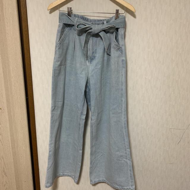 しまむら(シマムラ)のしまむら デニム ワイドパンツ ライトブルー LL レディースのパンツ(デニム/ジーンズ)の商品写真