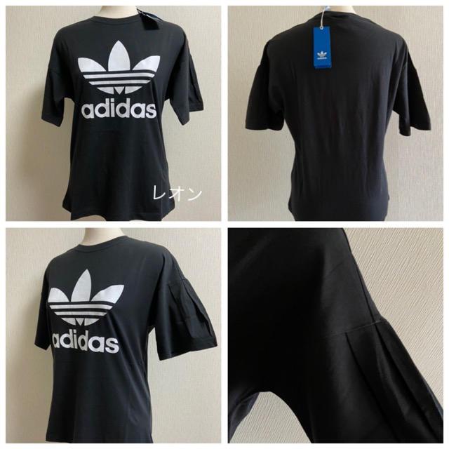 adidas(アディダス)の【レディースM】黒 プリーツ袖 トレフォイルTシャツ アディダスオリジナルス レディースのトップス(Tシャツ(半袖/袖なし))の商品写真
