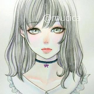 手描きイラスト《 リボンのチョーカー  》オリジナル 水彩画 美人画 美少女(絵画/タペストリー)