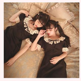 ベリーブレイン(Verybrain)のpoupee boutique Clara one-piece (black)(ひざ丈ワンピース)