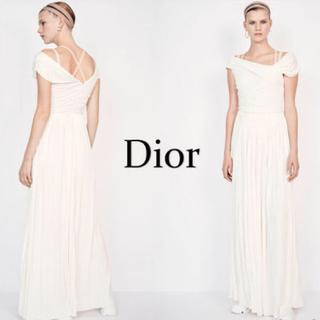 クリスチャンディオール(Christian Dior)のクリスチャンディオール ロングドレス ホワイト 36(ロングドレス)