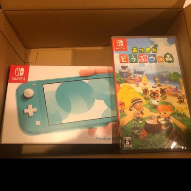 Nintendo Switch(ニンテンドースイッチ)のSwitchライト ターコイズ+どうぶつの森 エンタメ/ホビーのゲームソフト/ゲーム機本体(家庭用ゲーム機本体)の商品写真