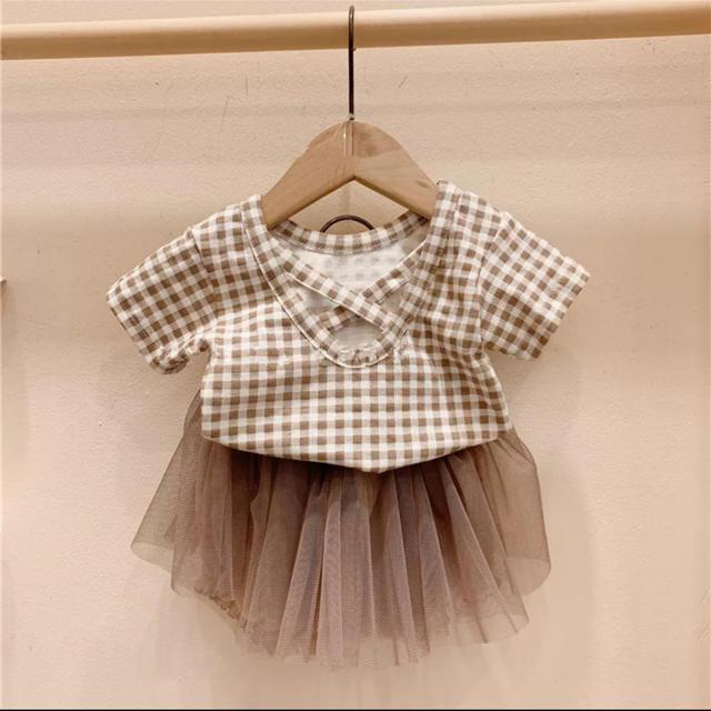 1点のみ チェックtops+スカート キッズ/ベビー/マタニティのベビー服(~85cm)(ロンパース)の商品写真