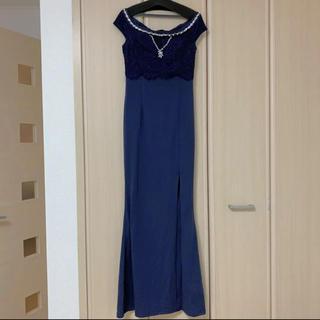 【SALE!!!】ロングドレス  キャバドレス ネイビー(ロングドレス)