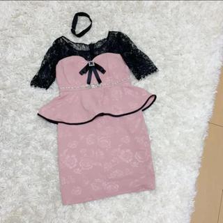 5部袖 ペプラム ピンク キャバドレス