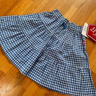 サンカンシオン(3can4on)の3 3can4on ブルーチェック スカート 100 (スカート)