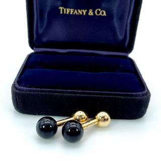 ティファニー(Tiffany & Co.)の極希少 美品 ティファニー ゴールド オニキス バーベル カフス HE49(カフリンクス)