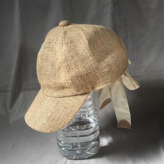 キャセリーニ(Casselini)の【Casselini】麻 リボンキャップ ベージュ 帽子(キャップ)