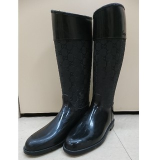グッチ(Gucci)のルビー様専用 GUCCI グッチ ロングレインブーツ ブラック(レインブーツ/長靴)