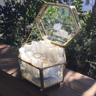 ウエディング リングピロー ガラス 真鍮(リングピロー)
