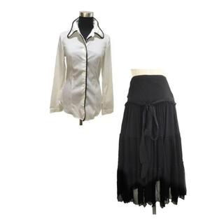 プラダ(PRADA)のPRADA曲線の襟が可愛い白シャツ&イタリア製シルクシフォンスカートセット(セット/コーデ)
