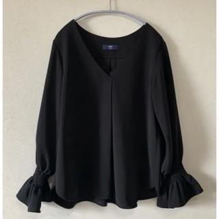 SHIPS - 美品♡ SHIPS colors フリル袖 ブラウス 黒