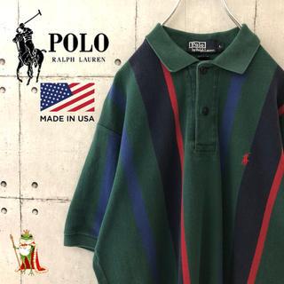 POLO RALPH LAUREN - 【激レア】90s USA製 ポロラルフローレン ストライプ ポロシャツ