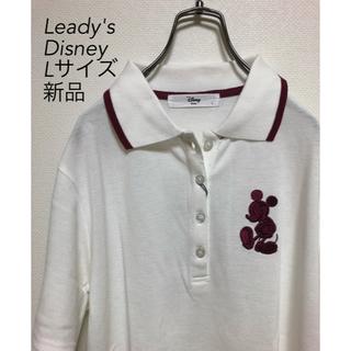 ディズニー(Disney)のディズニーミッキー刺繍 Lサイズ 半袖ポロシャツ 新品タグ付(ポロシャツ)