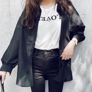 rienda - バックテール シースルーシャツ