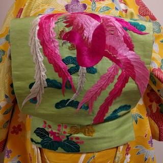 【セール中】ピンク鳳凰刺繍の九寸なごや帯