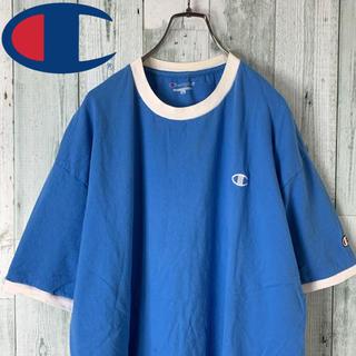 【ビッグサイズ】 チャンピオン ワンポイント リンガー Tシャツ 水色