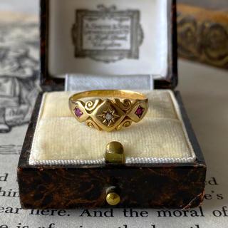 アンティーク ジプシーリング 1876年 ルビー ダイヤモンド 18金 (リング(指輪))
