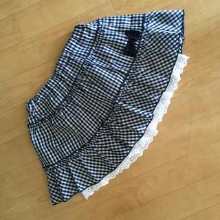 シマムラ(しまむら)の女児 used  紺と白のギンガムチェックのインナーパンツ付スカート しまむら(スカート)
