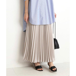 IENA SLOBE - SLOBE IENAサテンプリーツロングスカート2020ss (ナチュラル)